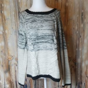 Maurices cream & black sweater